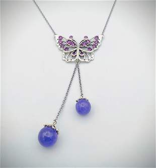 Necklace & Butterfly Pendant w Amethyst & Violet Jade