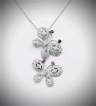 Necklace & Butterfly Pendant w Diamonds, Blue Sapphire