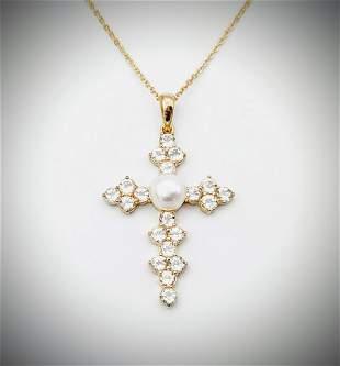 Necklace & Cross Pendant w Pearl & CZs
