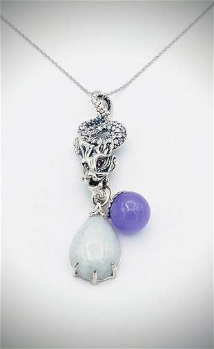 Necklace & Dragon Pendant w Pink Sapphire, CZs, Jade &