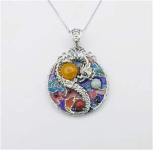 Necklace & Dragon Pendant w Yellow Jadeite, Jade,