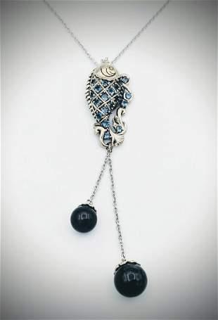 Necklace & Fish Pendant w Blue Topaz & Dangly Nuumite