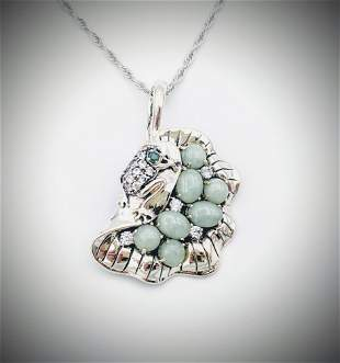 Necklace & Frog on Lilly Pad Pendant w Jade, Emerald &