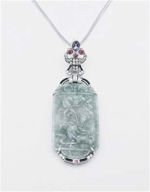 Necklace & Jade Engraved Pendant w Amethyst, Pink