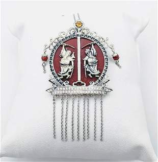 Sterling Silver Necklace & Emperior Pendant w Jasper,