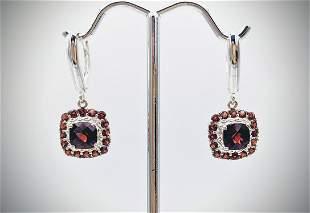 Sterling Silver Red Garnet Earrings