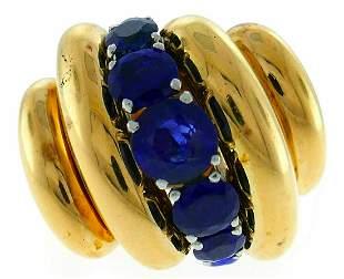 VAN CLEEF & ARPELS Sapphire Yellow Gold Bombe RING