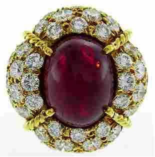 VAN CLEEF & ARPELS Burmese Ruby Diamond Gold RING 1985