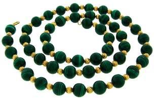 VAN CLEEF & ARPELS NY Malachite Bead Gold NECKLACE