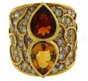MARINA B Gems Diamond Yellow Gold Band RING Vintage