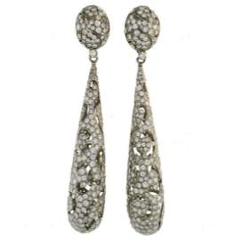 Vintage Diamond White Gold Dangle EARRINGS