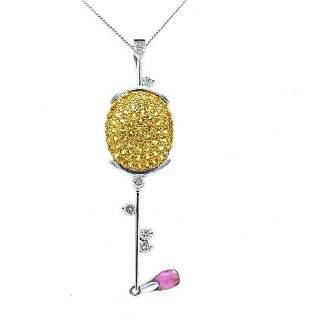 Vintage Platinum Gold Gemstones Golf Club Necklace