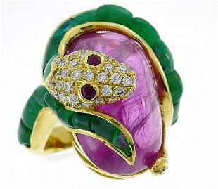 Vintage Yellow Gold Snake Ring Diamond Ruby Emerald