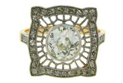 Edwardian Revival Diamond RING 1.92 cts DTW Platinum