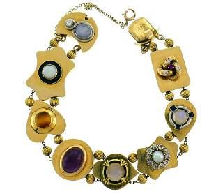 Victorian Gemstones Gold Slide BRACELET Antique Rare