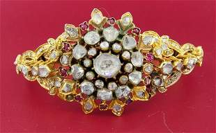 Victorian ROSE CUT DIAMOND RUBY YELLOW GOLD BANGLE