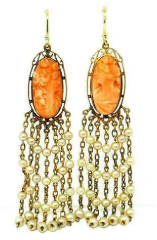 Victorian Yellow Gold Coral Cameo Pearl Tassel Earrings