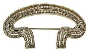 Edwardian DIAMOND PLATINUM YELLOW GOLD BROOCH PIN 1910s