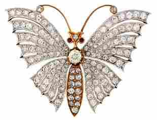 Victorian DIAMOND RUBY GOLD BUTTERFLY BROOCH PIN 11.50