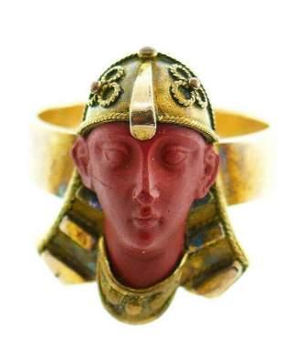 Victorian Egyptian Revival 10k Gold Carved Jasper Stone