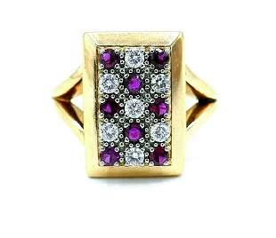 Jabel Victorian Yellow Gold Ruby Diamond Rectangular