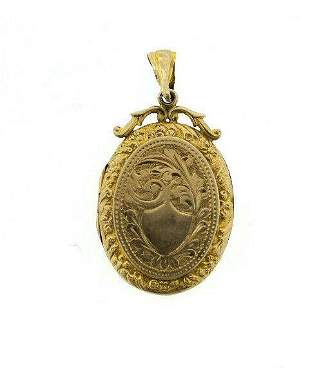 C.1900 VICTORIAN 9KT YELLOW GOLD LOCKET STAMPED