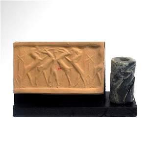 Sumerian Akkadian Marble Cylinder Seal, Mesopotamia, c.