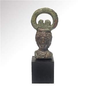Roman Bronze Weight, Head of Janus, c. 1st-2nd Century