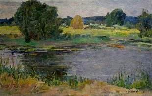 Oil painting Lake Minskiy Grigoriy Semenovich