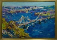 Oil painting Bridge landscape Dupliy Sergey