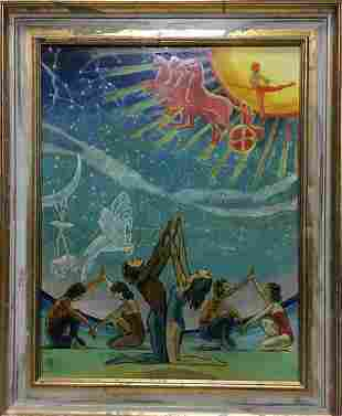 Abstract oil painting Folk traditions Strelnikov