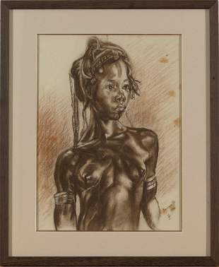 Monogram,Portait of African Woman,Charcoal on