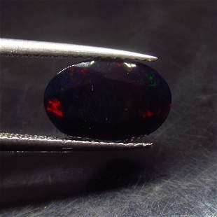 1.56 Ct Natural Ethiopian Black Fire Opal Oval Cut