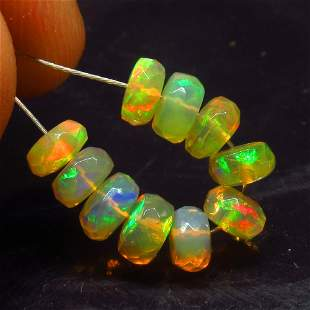 3.60 Ct Natural 10 Ethiopian Drilled Faceted Fire Opal