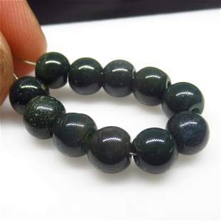 13.94 Ct Natural 11 Drilled Blood Stone Ball Beads