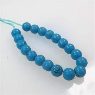 6.42 Ct Natural 19 Drilled Turquoise Ball Beads