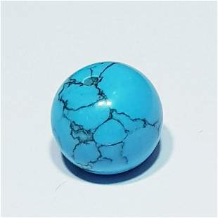 7.30 ct 10mm Round Drilled Natural Turquoise