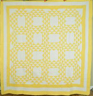30's Yellow & White Ocean Waves Quilt