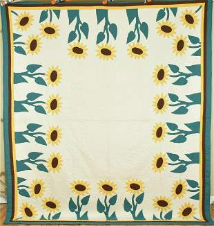"""Sunflower Applique Quilt, Signed & Dated """"1938"""""""