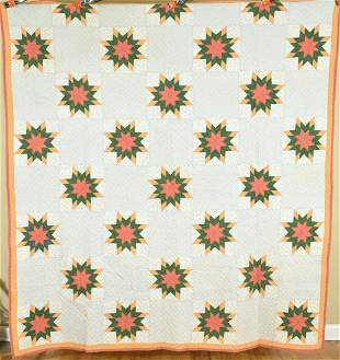 1880's Pieced Stars Quilt, Small Scale