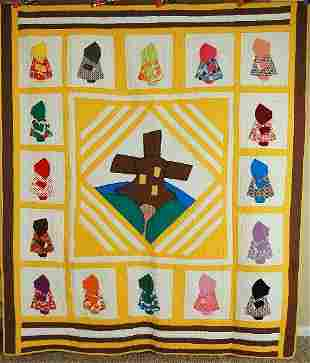 Unusual 40's Windmill Pictorial Quilt