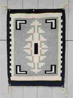 Two Grey Hills Navajo woven table rug ca 1950's