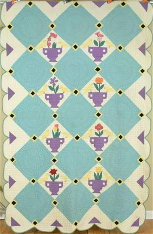 30's Deco Birds & Urns Applique Quilt