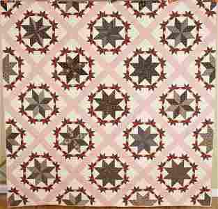 """Outstanding 1870's """"Pinwheel Stars"""" Quilt"""