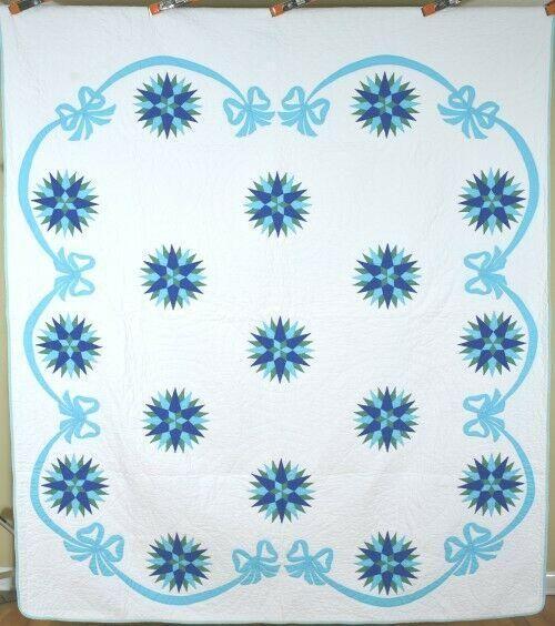 Blue & White Mariner's Compass Quilt