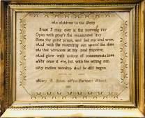 9 Partners School Quaker Sampler,1820