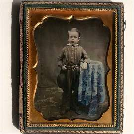 TINTED c. 1850 1/4 pl DAGUERREOTYPE BOY WEARS MILITARY