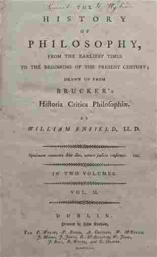 1792 HISTORY of PHILOSOPHY from BRUCKER s by WILLIAM