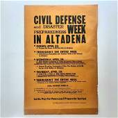 c1953 COLD WAR HOME FRONT BROADSIDE ALTADENA CA CIVIL