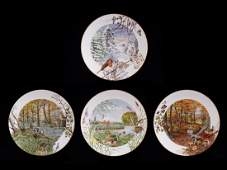 Set of 4 decorative Royal Worcester fine porcelain